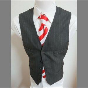 Sz M Gray Pinstripe Club Room Men Poly #898 Vest